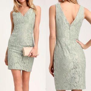 Lulu's Lace Sleeveless V-Neck Sage Green Dress S